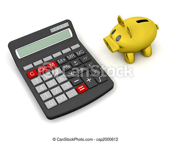 piggy bank and calculator - csp2000612
