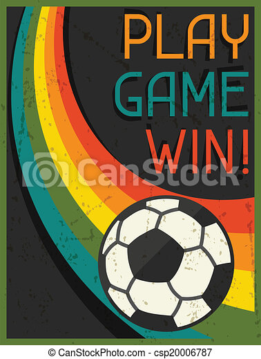 Play Game Win! Retro poster in flat design style. - csp20006787