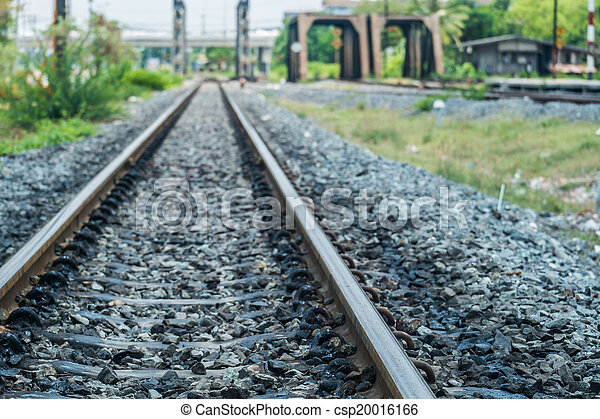 old railroad track with the bridges  - csp20016166