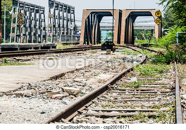 old railroad track with the bridges  - csp20016171