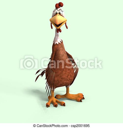 crazy cartoon chicken - csp2001695