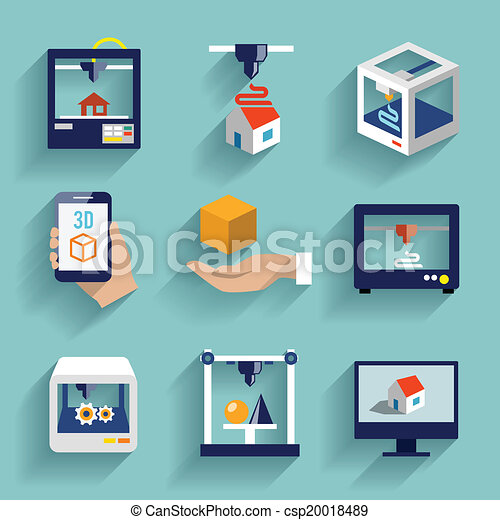 Vettore di appartamento stampante set 3d icone for Disegno 3d free