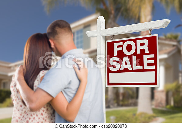 For Sale Real Estate Sign, Military Couple Looking at House - csp20020078