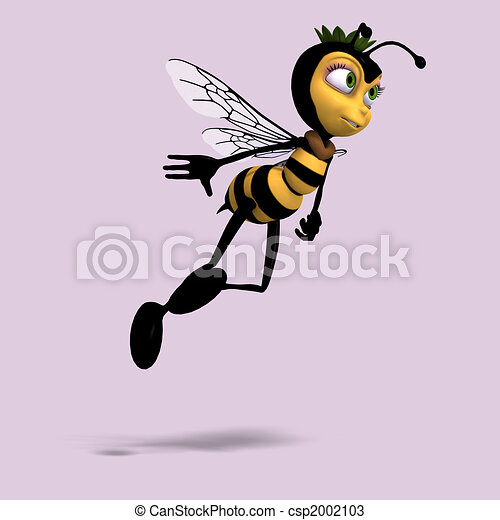 very sweet render of a honey bee in yellow and black - csp2002103