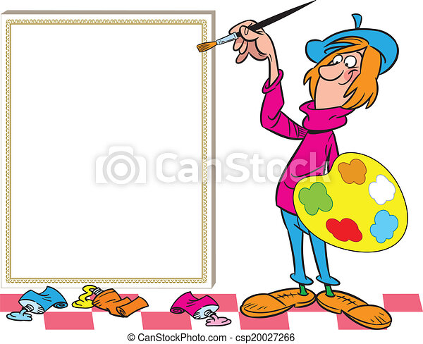 Clip art vector of funny painter near easel the for Art craft shows near me