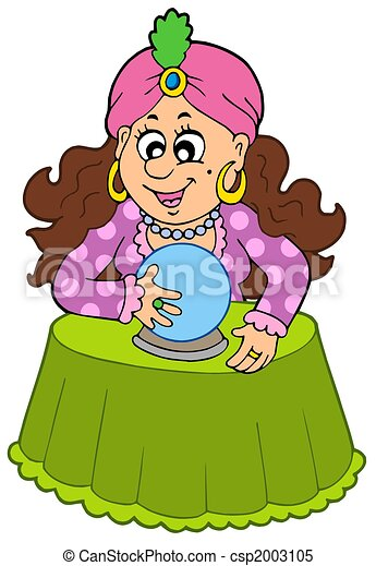 Fortune teller with crystal ball - csp2003105