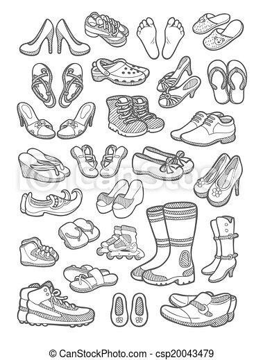 Vecteur , croquis, chaussures, icône