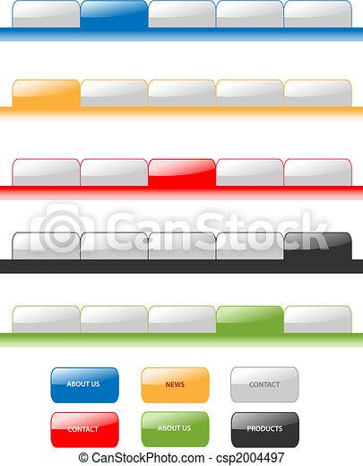 Set of vector modern navigation tabs aqua style web 2.0. Different colors, editable, sample menu. - csp2004497
