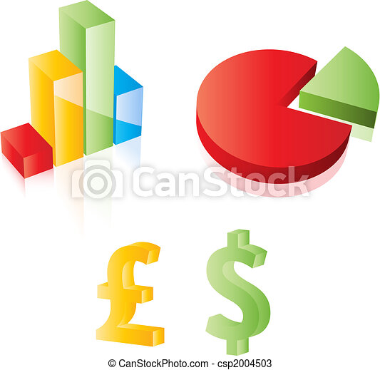 3D Vector chart, pie, dollar and pound sterling signs. Web 2.0 style. Easy to edit. Any size. - csp2004503