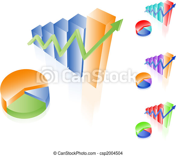 3D vector charts. Bar and pie diagrams. Set of different colors. Financial incoming growth concept. Easy to edit. Any size. - csp2004504