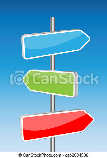 3D Vector direction signs and sky background. Any size and easy to edit illustration. - csp2004506