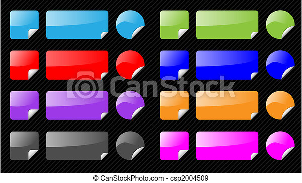 Set of vector shiny web elements on striped black background. Different colors, aqua web 2.0 style. As icons, navigation, buttons. Easy to edit. - csp2004509