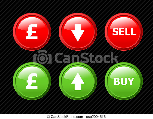 Set of vector icons for pound currency exchange theme. Easy to edit, any size. Aqua web 2.0. More currencies in my portfolio. - csp2004516