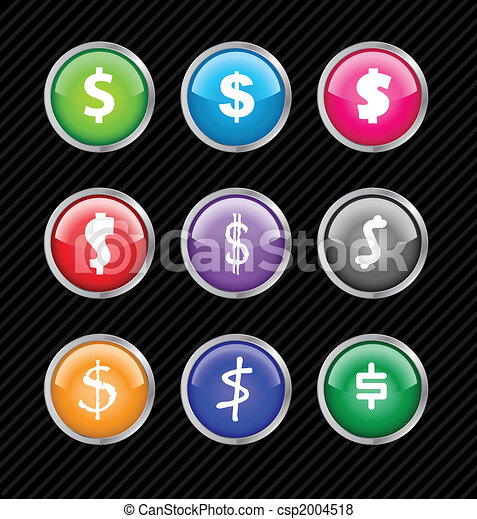 Set of vector buttons with different variations of dollar sign style. Easy to edit, any size or color. Aqua web 2.0 - csp2004518