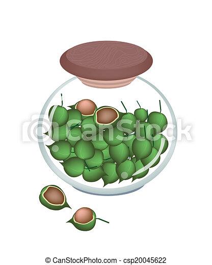 vektor a glas krug reif macadamia n sse stock illustration lizenzfreie illustration. Black Bedroom Furniture Sets. Home Design Ideas