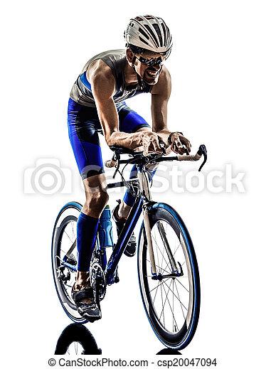 man triathlon iron man athlete cyclist bicycling - csp20047094