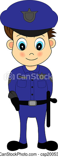 Cute Cartoon Male Police Officer in Blue Uniform - csp2005328