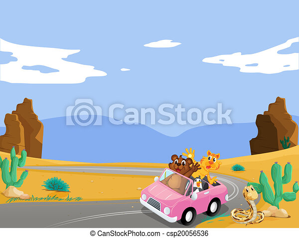 A pink car with animals travelling - csp20056536