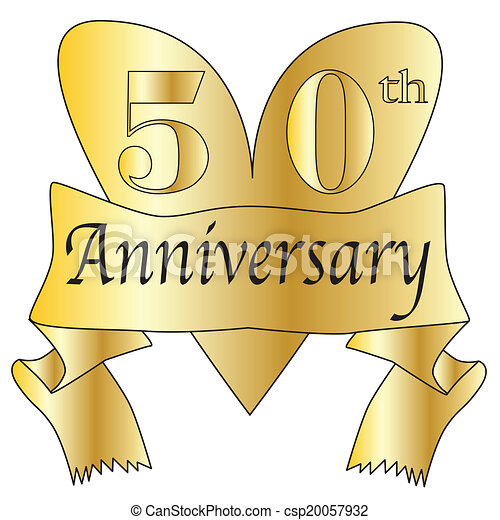 Vectors of 50th Anniversary Heart - 50th anniversary heart in gold ...
