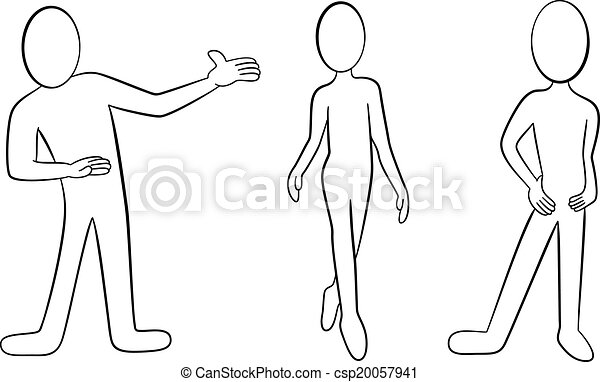 EPS Vector of cartoon people black and white - vector illustation ...