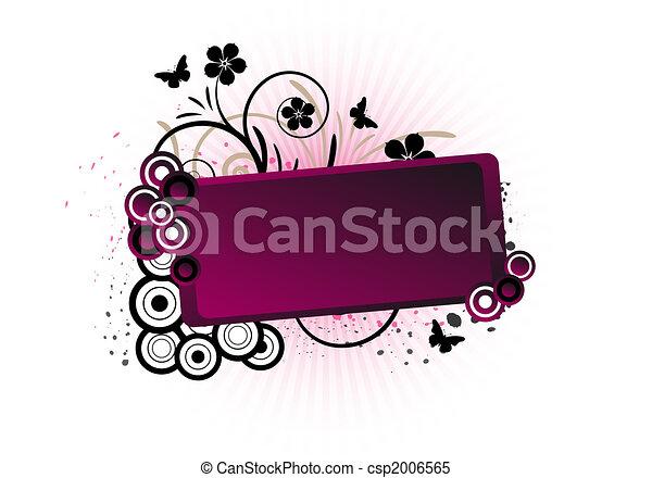 floral, tekst, frame, ontwerp - csp2006565