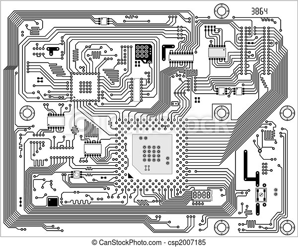 Hi-tech industrial electronic vector background - csp2007185