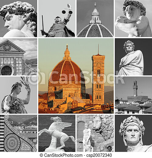 art of Florence - collage , Italy - csp20072340