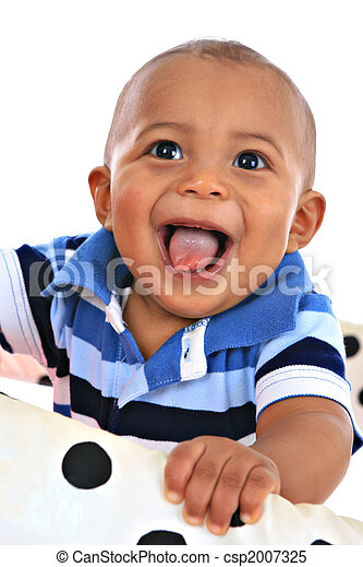 smilling 7-month old baby boy portrait - csp2007325