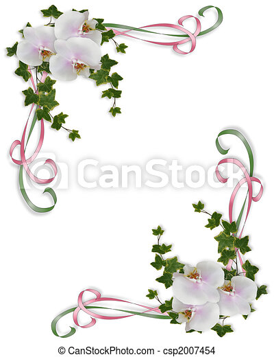 Orchids and ivy Wedding invitation  - csp2007454
