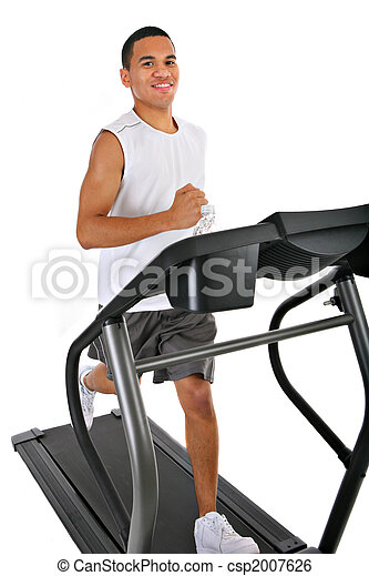 Healthy Young African American Running in Treadmill - csp2007626