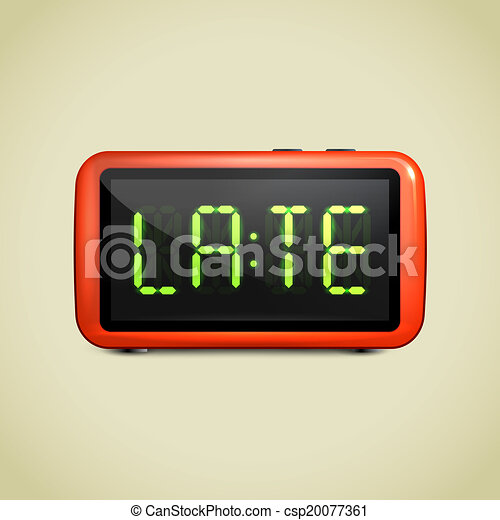 clip art vektor von digital alarm uhr aufwachen auf realistisch digital csp20077361. Black Bedroom Furniture Sets. Home Design Ideas