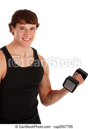 Healthy Looking Young Man Lifting Weight - csp2007795