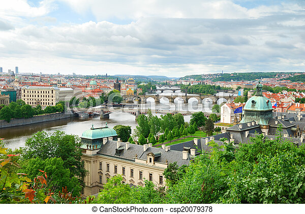 Prague and its multiple bridges across Vltava river, Czech Republic - csp20079378