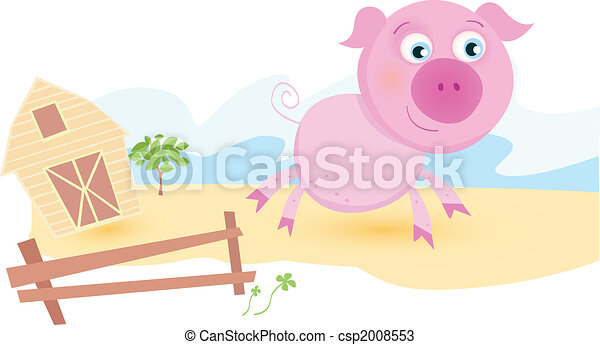 Pig on farm - csp2008553