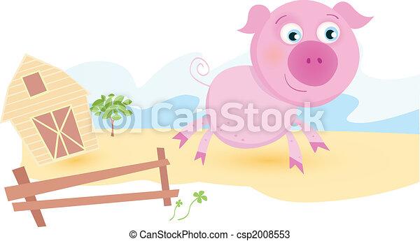 Pig on farm - csp2008553
