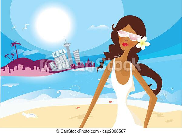 Hot summer girl on vacation - csp2008567