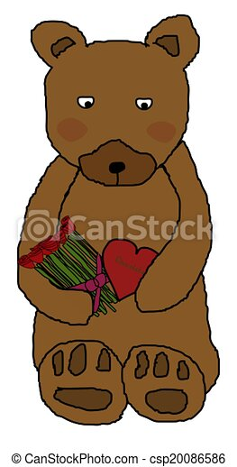 Bear Holding Flowers and Chocolate - csp20086586