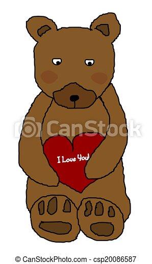 Bear Holding Heart  - csp20086587