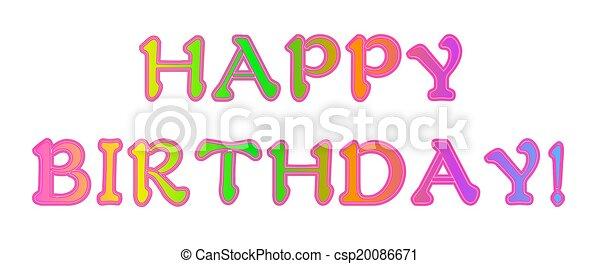 Neon Rainbow Happy Birthday - csp20086671