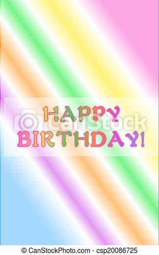 Neon Rainbow Happy Birthday - csp20086725