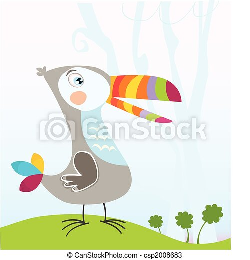 Tropical jungle scene with Toucan - csp2008683