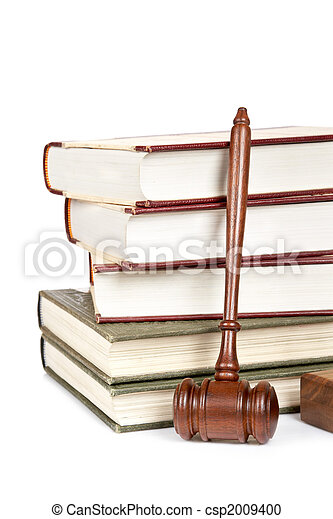 Wooden gavel and law books - csp2009400