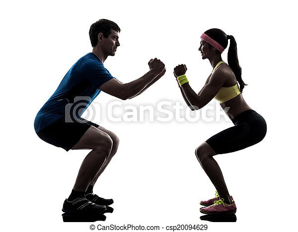 woman exercising fitness workout with man coach silhouette - csp20094629