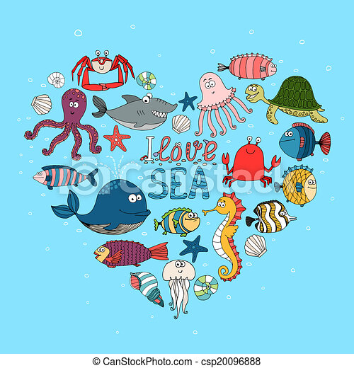 Vector Of I Love Sea Nautical Themed Design With Various