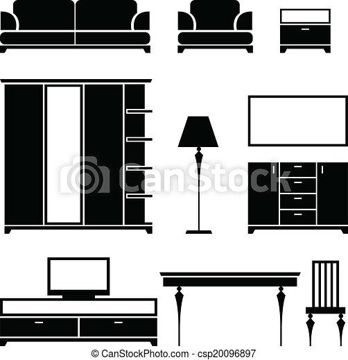 vector negro blanco silueta plano de fondo muebles