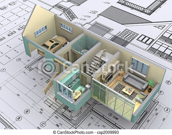 Dessins de maison 3d isom trique vue les coupure for Construisez vos propres plans de maison en ligne