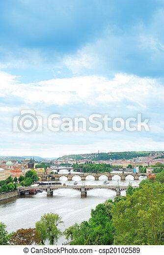 Prague and its multiple bridges across Vltava river, Czech Republic - csp20102589