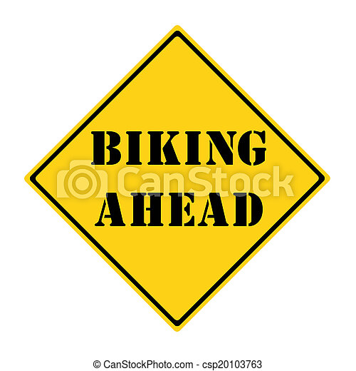 Biking Ahead Sign - csp20103763