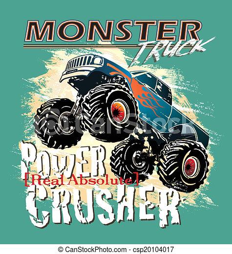 Vector Clip Art of monster truck power crusher - monster truck ...