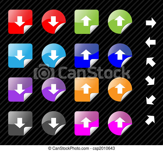 Collection of multi colored vector sticky icons with arrows for directions. Easy to edit, any size. Aqua web 2.0 - csp2010643